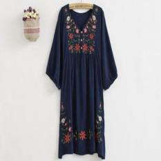 Lady Vintage 70S Mexican Ethnic Floral Embroidered Hippie Blouse Tops Boho Dress Blue Intl Shopping
