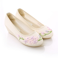 Compare Price Ladylike Old Beijing Chinese Clothing Shoes 1008 Ribbon Embroidery Off White Color Oem On China