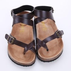 Lalang Cork Gladiator Beach Shoes Slippers Unisex Lovers Sandals Flats Brown Intl Shopping