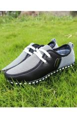 Cheaper Lalang Men Casual Shoes Sneakers Pu Leather Moccasins Black