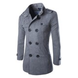 Sales Price Lalang Men Wool Coat Double Breasted Short Trench Coats Thick Jacket Intl