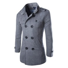 Lalang Men Wool Coat Double Breasted Short Trench Coats Thick Jacket Intl Online