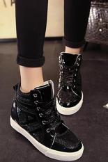 Buy Lalang New Flat Shiny Lace Women Shoes Casual Increased Shoes Black Intl Lalang Cheap