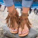 Top Rated Lalang Summer Flat Casual Sandals Women Tassels Bohemian Sandals Brown Intl