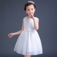 2017 Summer New Style Middle And Large Girls Dress Lace Princess Dress 5 Children 8 Puffy Mesh Dress 10-Year-Old White Red By Taobao Collection.