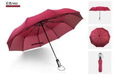 Sale Simple Compact 2 Person 10 Rib Automatic Tri Fold Umbrella Red Red On China