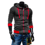 Get Cheap Large Size Mens Sweatshirts Jacket Sports Coat Zipper Dark Grey