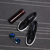 Lazy Korean Style Leather Woven Female Canvas Shoes Couple S Shoes Black On Line
