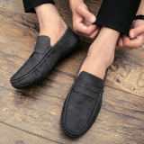 Men S Korean Style Fashion Slip On Leather Shoes E58 Black E58 Black Cheap