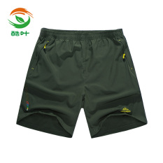 Leaf Summer Quick Drying Shorts Pants Dark Green Color For Sale