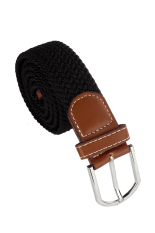 Who Sells Leather Braided Elastic Stretch Metal Buckle Belt Black Cheap