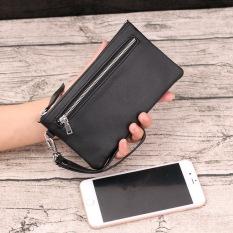 Leather Clutch Bag Zip Wallet Men Wallet Black Double Zipper Edition Black Double Zipper Edition Best Price