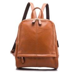 Buy Leather Handbags 2017 Korean Version Of The Simple Wave Of Large Packages Ladies Shoulder Bag Leather Large Capacity Student Backpack Female Brown Intl