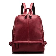Compare Price Leather Handbags 2017 Korean Version Of The Simple Wave Of Large Packages Ladies Shoulder Bag Leather Large Capacity Student Backpack Female Red Intl Oem On China