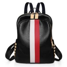 The Cheapest Leather Ladies Backapck Colorful Strip Women Knapsack Large Sch**l Bag For Teenager G*rl Unisex Soft Bagpack Intl Online