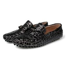 Get Cheap Leather Leopard Printed Men Loafers High Quality Driving Shiny Soft Formal Driving Loafers Intl