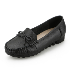 Compare Price Leather New Style Spring Moccosins Mom Shoes Black On China