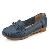 Cheaper Leather New Style Spring Moccosins Mom Shoes Dark Blue Color
