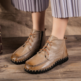 Review Leather Spring And Autumn New Style Hand Women Shoes Khaki Oem