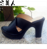 Sale Leather Women S Plus Sized High Heeled Slippers New Style Sandals