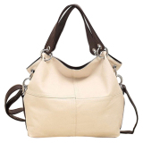 New Leegoal Fashion Retro Style Pu Leather Messenger Bag Tote Bag For Women Creamy White