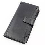 Best Reviews Of Leegoal Men S Vintage Genuine Leather Wallets Long Slim Money Card Slot Wallet Black Intl