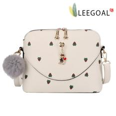 Best Reviews Of Leegoal Women Printed Cartoon Cat Fur Ball Zipper Bags Shell Leather Handbag Casual Bag White Intl