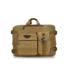 Where To Buy Leisure Canvas Backpack Computer Bag Multifunction Shoulder Messenger Bag Khaki Intl