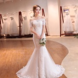 Who Sells The Cheapest Leondo Lace Bridal Dress Off The Shoulder Short Sleeve Mermaid Wedding Dress For Bridal Gowns With Sequins Intl Online