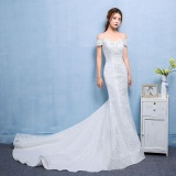 Sale Leondo Mermaid Bridal Dress Long Lace Train Wedding Gowns Ivory Intl On Singapore