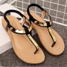 Sales Price Leyi Ladies Fashion Sequins Comfortable Flat Sandals Black Intl