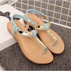 Compare Prices For Leyi Ladies Fashion Sequins Comfortable Flat Sandals Blue Intl
