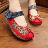 Best Buy Leyi Peony Embroidered Wedges Old Beijing Cloth Shoes Red Intl