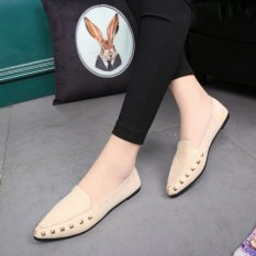 Discount Leyi Pointed Rivet Decoration Light Mouth Flat Shoes Beige Intl China