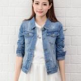 Review Leyi Women S Fashion Comfortable Long Sleeved Slim Denim Jacket Light Blue Intl China
