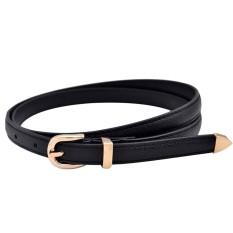 32371e7488 Lgpenny Fashion Women Lady Girls Skinny Waist Belt Thin Leather Buckle  Narrow Waistband-Black - intl