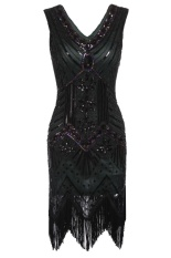 Review Linemart 1920S Style Beaded Sequined Deco Fringe Flapper Gatsby Dress Deep Green Intl Not Specified