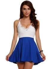 Best Buy Linemart Finejo Women S*xy Blackless Sleeveless Halter V Neck Lace Patchwork Club Party A Line Mini Dress Blue Intl