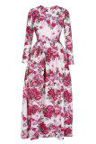 Best Linemart Graceful Floral Print Formal Party Long Maxi Dress Multicolor