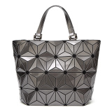 Purchase Ling Ge New Geometric Asymmetric Laser Bucket Bag The Transformers Bucket Bag Large Silver Color The Transformers Bucket Bag Large Silver Color