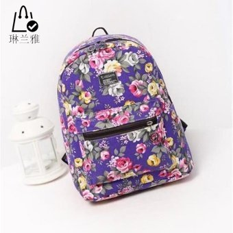 LINLANYA Women flower print backpack high quality students rucksack laptop bag travel bag Good quality trustworthy C-277