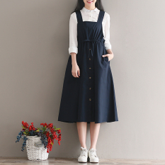 Women S Retro Cotton Linen Strapped Dress Navy Blue On Line