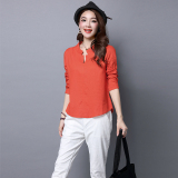 Recent Art Linen Female New Style Top T Shirt Nacarat