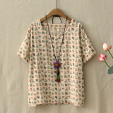 Sale Women S Loose Bear Print Round Neck Cotton T Shirt Beige Beige Oem Wholesaler