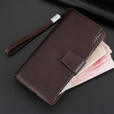 Retail Price Long Men Wallet Leather Hand Bag Credit Card Coin Holders With Hand Strap Brown Intl