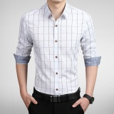 Long Sleeve Men Plaid Slim Cotton Shirts Male Business Summer Casual Shirt Intl Reviews