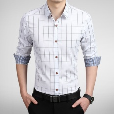 Purchase Long Sleeve Men Plaid Slim Cotton Shirts Male Business Summer Casual Shirt Intl