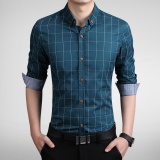 Low Cost Long Sleeve Men Plaid Slim Cotton Shirts Male Business Summer Casual Shirt Intl