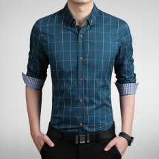 Best Deal Long Sleeve Men Plaid Slim Cotton Shirts Male Business Summer Casual Shirt Intl
