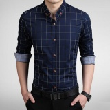 Deals For Long Sleeve Men Plaid Slim Cotton Shirts Male Business Summer Casual Shirt Intl